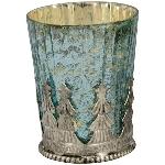 WindLicht Vitreous, türkis, Glas/Metall, 6,5x6,5x8,5 cm
