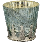 WindLicht Vitreous, türkis, Glas/Metall, 10x10x9,5 cm