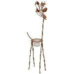 Deer Tôle, rusty, Metall/Glas, 16x10x54 cm