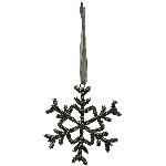 SchneeFlockeHänger Sobre, schwarz, Metall, 10x0,5x10 cm